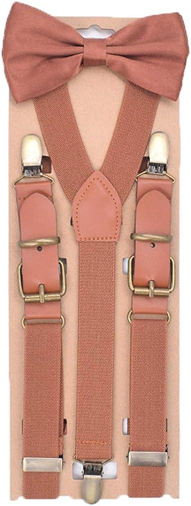 Men Solid Y-Back Suspenders&Bow Tie Set 1''Wide Heavy Duty Braces&3 Bronze Clips