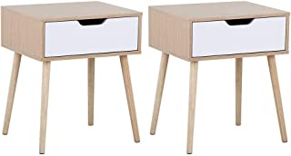 Yaheetech Mid Century Bedside Table Nightstand for Bedroom - with Storage Drawer Wood Legs Sofa Side End Tables, Set of 2