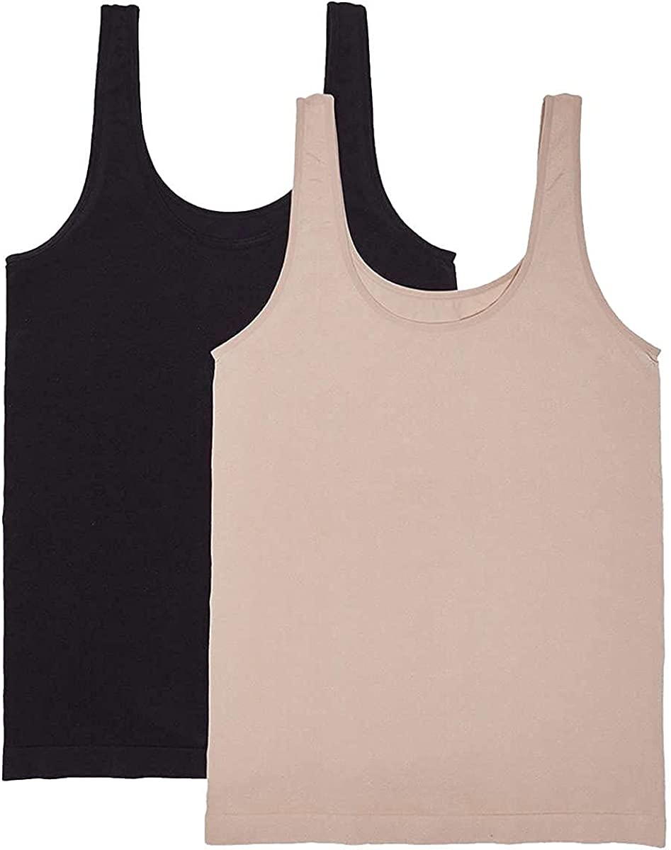 Carole Hochman Ladies Small 2-pack Scoop New product Tank Neck Nude S Black Outstanding