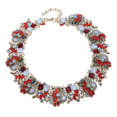 Crystal Rhinestone Statement Necklace, Vintage Chunky Chain Choker Collar Bib Statement Necklace Fashion Costume Jewelry Necklaces for Women Crystal Bib Statement Necklace