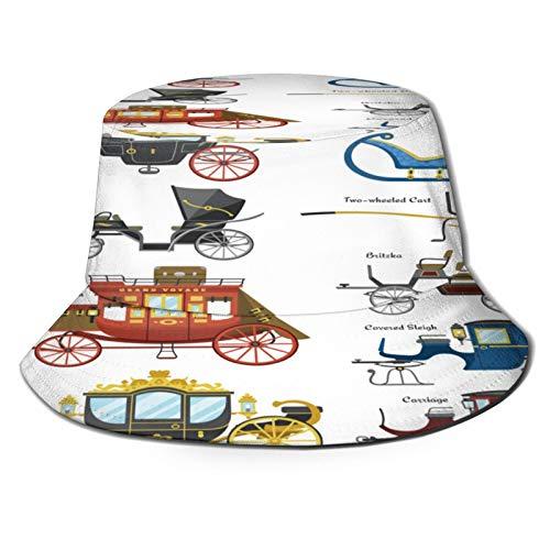 Unisex Bucket Sun Hats Carriage Vector Vintage Transport Old Wheels Fashion Summer Outdoor Travel Beach Fisherman Cap
