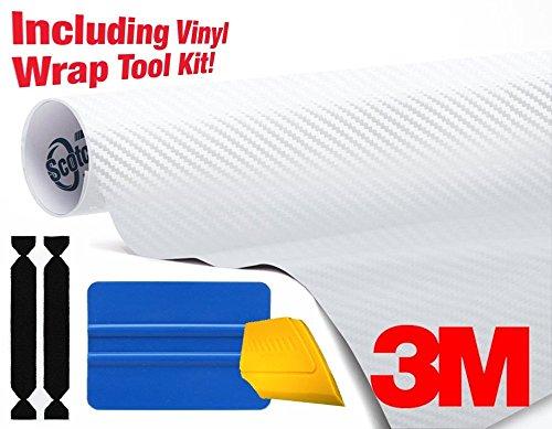 3M 1080 Carbon Fibre White Air-Release Vinyl Wrap Roll Including Toolkit (1ft x 5ft)