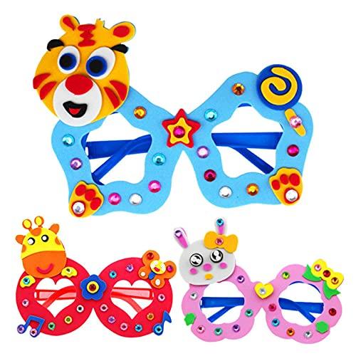 PYBH Neue Kunsthandwerk DIY Toys Cartoon Brille Baby Handwerk Kinder Puzzles Pädagogische Für Kinder Spielzeug Spaß Party DIY Mädchen/Jungen Geschenk 02 (Farbe : Randomly Send 5PCS)