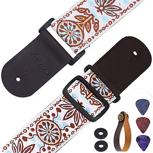 Asmuse™ Gitarrengurt Lederende Tragegurt Bassgurt Verstellbar 90-155 cm Lang Vintage Woven für E Gitarre Konzertgitarre Westerngitarre