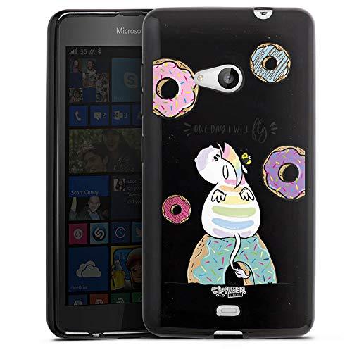 DeinDesign Silikon Hülle kompatibel mit Microsoft Lumia 535 Dual SIM Case schwarz Handyhülle Einhorn Offizielles Lizenzprodukt Pummel & Friends