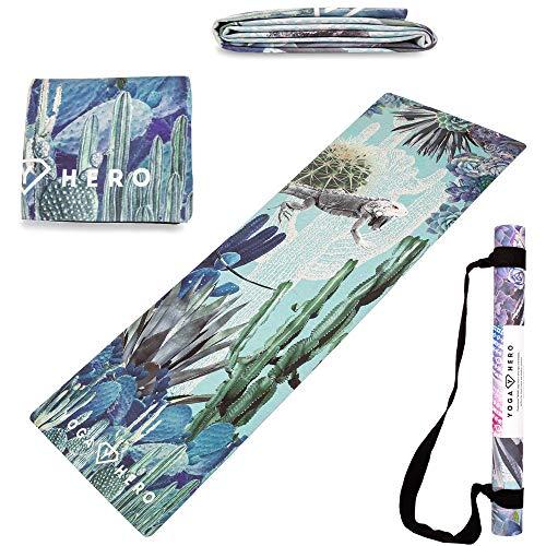Yoga Hero Travel Yoga Mat Foldable Lightweight - Thin Light Non-Slip Travel Yoga Mat Eco...
