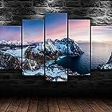 Cuadro Lienzo Moderno 5 Piezas HD Imagen De Póster Noruega paisaje de montaña de hielo Impresión Artística, Combinación Pintura Decorativa para Salón De Hogar Decoración