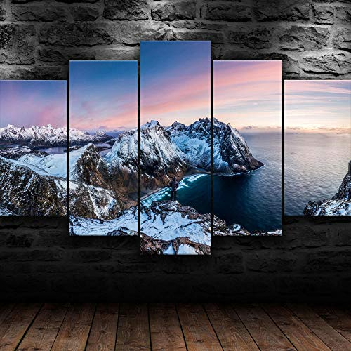 IIIUHU Creative Gift Frame Canvas Painting Wall Art Decor 5 Pieces Norway Ice Mountain Landscape Living Room Hd Print Poster Wall Art Painting for Home Living Room Office Mordern Decor