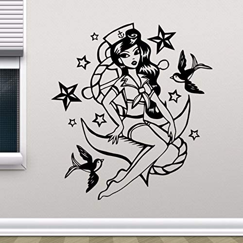 yaonuli Muurstickers voor meisjes, vinyl, zeemeermin, zeemeermin, wandtattoo, vinyl, 57 x 27 cm