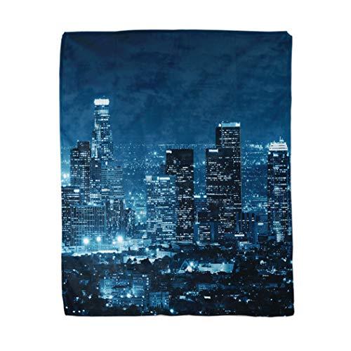 Topyee 130x150 cm Gooi Deken Stad Los Angeles Downtown Gebouwen 's Nachts Skyline Californië Warm Gezellige Print Flanellen Home Decor Comfortabele Deken voor Bank Slaapbank Bed