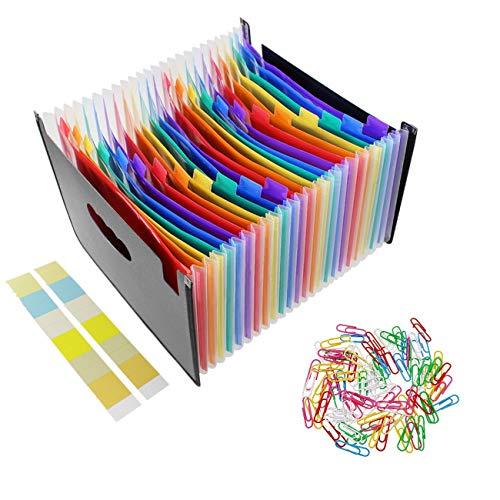 JZK Kleurrijke Accordeon Uitbreidingsmap A4 met 24 vakken met uitgesneden tabbladen, 90 papieren clips, Uitbreidbare map Organizer voor documenten Papierwerk