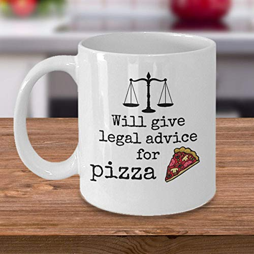 NA Funny Lawyer Coffee Mok geeft advies voor pizza foodie Advocate Attorney