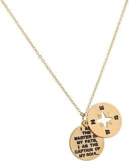 Compass Fleur de Lis Brass /& Solid Sterling Silver 925 Pendant by Ezi Zino