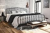 Novogratz Bushwick Metal Bed with Headboard and Footboard | Modern Design | King Size - Grey