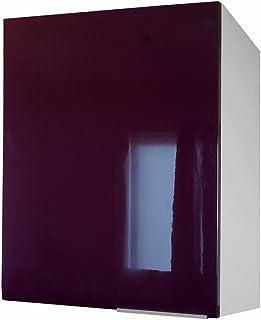 Berlenus CP8HA - Mueble Alto de Cocina (1 Puerta 60 cm) Color Berenjena Brillante