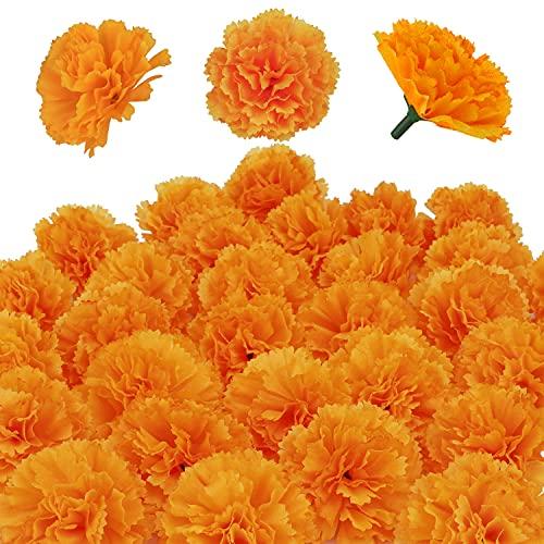 Artificial Marigold Flowers 50 Pcs,Silk Marigolds Decoration Set,Orange Marigold Flowers Decorations For Diwali,Indian Festival, Traditional, Backdrop,Parties,DIY Marigold Garlands,Wedding,Bush Floral
