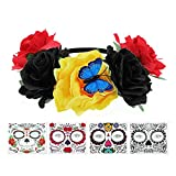 FRCOLOR Diadema para el día de los muertos con rosas para Halloween, con 4 unidades, tatuajes temporales para la cara de Halloween, diseño de calaveras