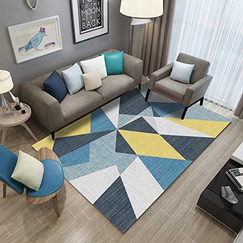Mengjie Tapis Salon Jaune Bleu Coloré Coloré Triangle De Chambre Basse De Canapé De Chambre De Table Basse De Tapis Lavable, 80 * 120Cm