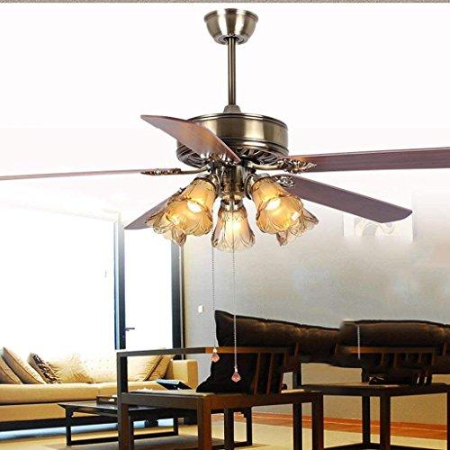 JU Leuchter-Europese antieke ventilatorlamp, restaurant-plafondventilatorlamp, slaapkamer-ventilatorlamp, woonkamer met helder hout verlaat, 60 inch ventilator lichten