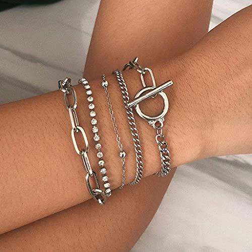 Branets - Set di braccialetti in cristallo boho, con perline in argento, per donne e ragazze