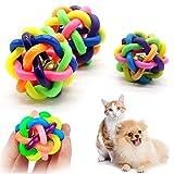 2pcs perro gato juguete con la pequeña campana arco iris juguetes para perros perro perrito molares gumshoe bola jugar para los dientes entrenamiento juguetes mascotas jugando juguetes de bola de perr