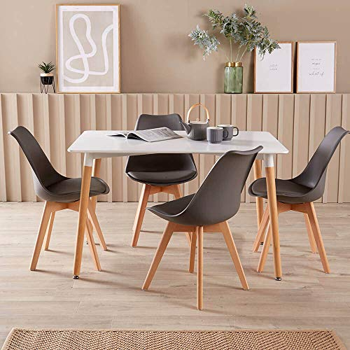 Home Source Modern White Kitchen or Dining Table Set 4 Padded Grey Chairs Wooden Legs, MDF, 120cmx80cm
