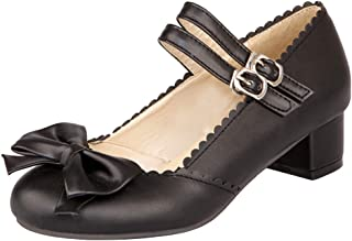 Caradise Womens Sweet Lolita Bow Shoes Mid Heel Chunky Mary Janes Double Strap Pumps