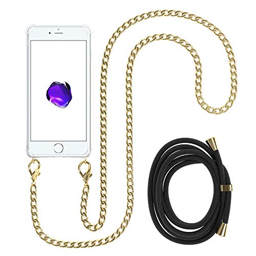 EAZY CASE Handykette kompatibel mit Apple iPhone 8/7 / SE (2020) Handyhülle mit Metal Umhängeband und Ersatz Kordel schwarz, Handykordel mit Schutzhülle, Stylische Kette mit Hülle, Gold
