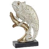 Hogar y Mas Figura Iguana Decorativo, Realizzato in Resina. Il Bianco e L'Oro, Realistico e Tropicali 15X6,5X23cm - Casa e Altro Ancora