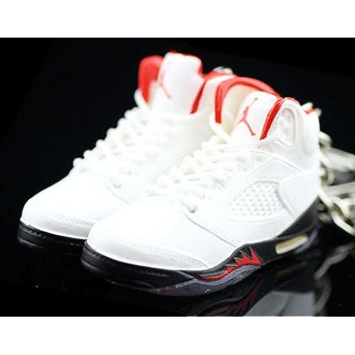6a071e46f64f2f Air Jordan V 5 Retro Fire Red White OG Sneakers Shoes 3D Keychain Figure