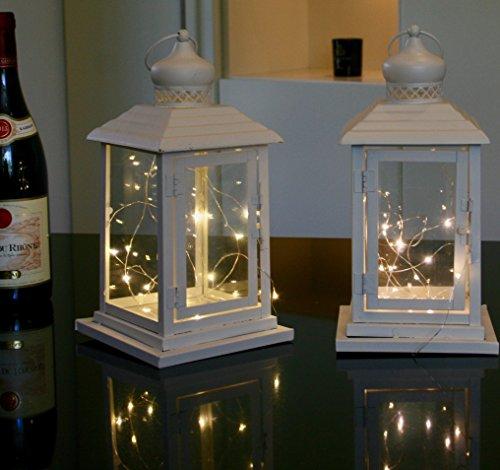 Link Products lanterne in metallo e vetro white cream