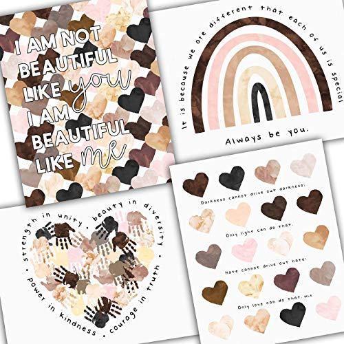 Diversity Art for Kids - Four Pack of Posters - Celebrate Diversity and Promote Unity - Four Unique Posters for Classroom or Playroom - UNFRAMED Poster Prints - 8x10', 11x14', 16x20' or 24x36'