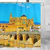 España Puente Romano Córdoba Cortina de Ducha Viaje Decoración de Baño Set Con Ganchos Poliéster 72x72 Pulgadas (YL-05411)