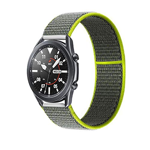 YGGFA 20 22mm Watch Band for Gear S3 Frontier Strap Galaxy Watch 3 45mm 41mm 46 Active 2 44mm 40mm Nylon para Huawei Watch GT2E / 2 Strap 42 (Band Color : Flash Yellow 2, Band Width : 22mm)