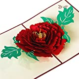 Red Peony Flower Handmade 3D Pop Up Greeting Cards for Mother Day