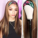 Headband Wigs Highlights Human Hair Glueless None Lace Frontal Wigs for Women Straight Brazilian Virgin Remy Hair...