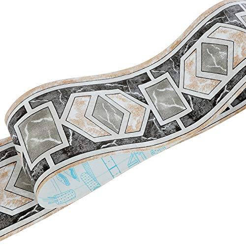 Uoisaiko PVC Schwartz Tapete Bordüre Küche Wandbordüre Selbstklebend Tapetenbordüre 10CM x 10M Wandbordüre Schälen und Stock Bordüren für Wohnzimmer Schlafzimmer