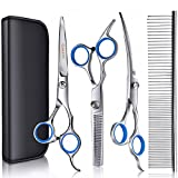 Gimars Titanium Coated Stainless Steel Pet Grooming Scissors Set – Thinning Straight Curved Shears, Comb, Oil and Cloth - Perfect Trimming Kit for Long &Short Hair, Coat, Fur For Dogs, Cats and More
