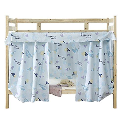 YSXY Bettvorhang Vorhang Hochbett Schlafzelt Spielzelt Kinderbett Bett Etagenbett Studentenwohnheim Kinderzimmer,1.2x2M (1pcs) Fisch Muster,Dunkelblau