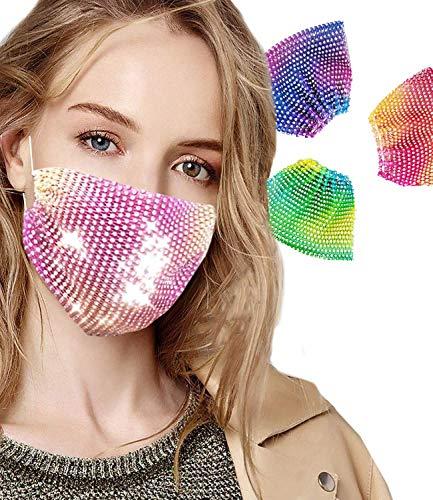 Sparkle Rhinestone Face Mesh Mask of Halloween Party Masquerade Nightclub for Women Girl (Rainbow)