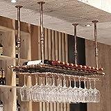 Soporte para Copa de Vino, Soporte para Copa de Vino Colgante, Ajustable Sostenedor del Cubilete, Colgador Copas, Soporte para Copa de Vino Invertido para Barra, Cocina Restaurante-Bronze_120*30cm
