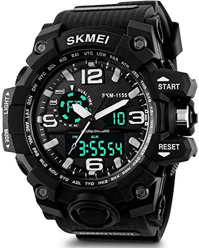 RUSTET Analogue - Digital Men's Watch (Black Dial Black Colored Strap - 1155) (Black1)