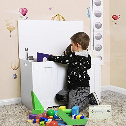 VASAGLE Spielzeugkiste Truhe Bank Stauraum Sitztruhe Sitzbank Aufbewahrungstruhe mit großer Kapazität weiß , Holz, 76 x 48 x 40 cm (B x H x T) LHS11WT - 3
