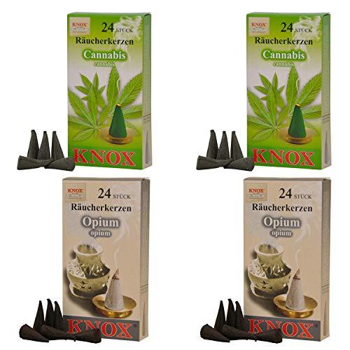 Imagen del productoKnox Conos de Incienso 078740, 4 Paquetes con 24 Conos de Incienso, Cannabis, opio o Navidad