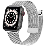 Mugust Metal Band Compatible with Apple Watch Band 38mm 40mm 42mm 44mm, Stainless Steel Mesh Strap Replacement for iWatch Series 6 5 4 3 2 1 SE (.Silver, 42mm/44mm)