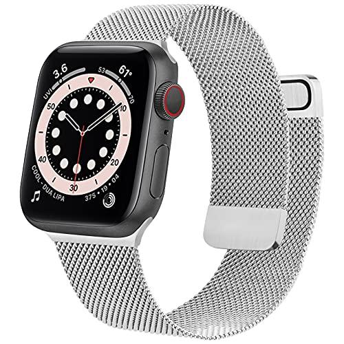 BANMA コンパチブル Apple Watch バンド 38mm 40mm 42mm 44mm, ステンレス製 アップルウォッチバンド コンパチブル iWatch Series SE/6/5/4/3/2/1に対応 (38mm/40mm, シルバー)