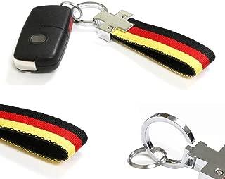 iJDMTOY German Flag Stripe Nylon Strap w/Keychain Ring for Audi BMW Mercedes Mini Porsche Smart Volkswagen etc