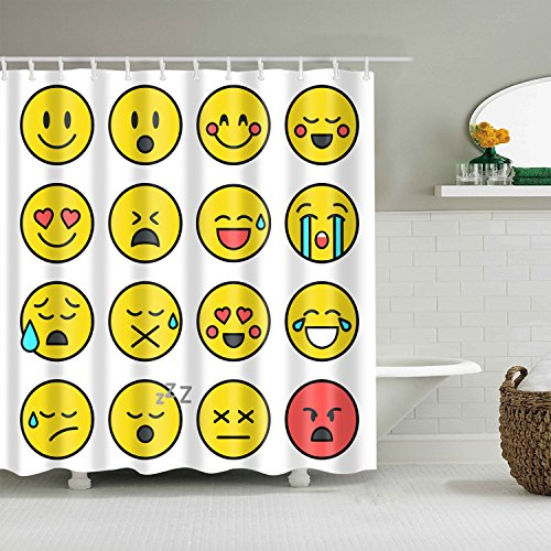 WEIZHE Yellow emoji pattern shower curtainBathroom accessories 180X180CM waterproof and mildew shower curtain
