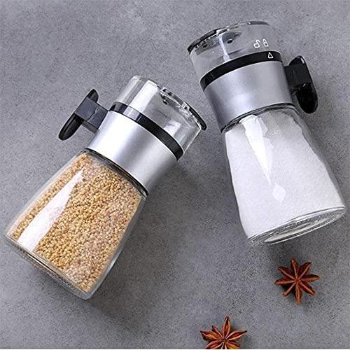 JIUDELE Dispensador de sal tipo empuje de especias Shaker Shaker Herramienta de condimento pimienta especias especias contenedor cocina salsa parrilla condimento suministro