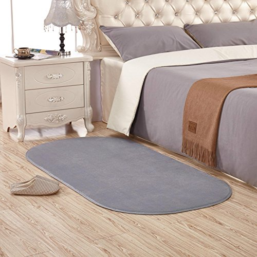 KOOCO Long Oval Coral Velvet Area Rug for Home Bedroom Brief Soft Living Room Rugs and Carpets Coffee Table Floor Mat Kids Play Mat, Sliver Grey, 800MMx1600MM